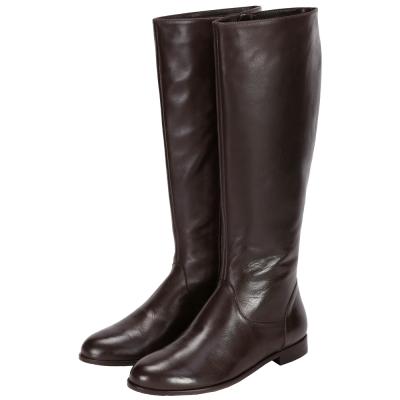 anna baiguera 牛皮側拉鍊設計長靴(咖啡色)