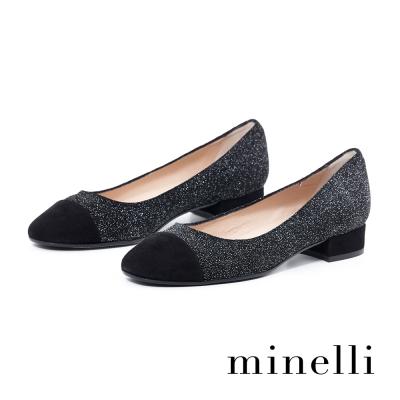 Minelli-異材質低跟包鞋-亮眼黑