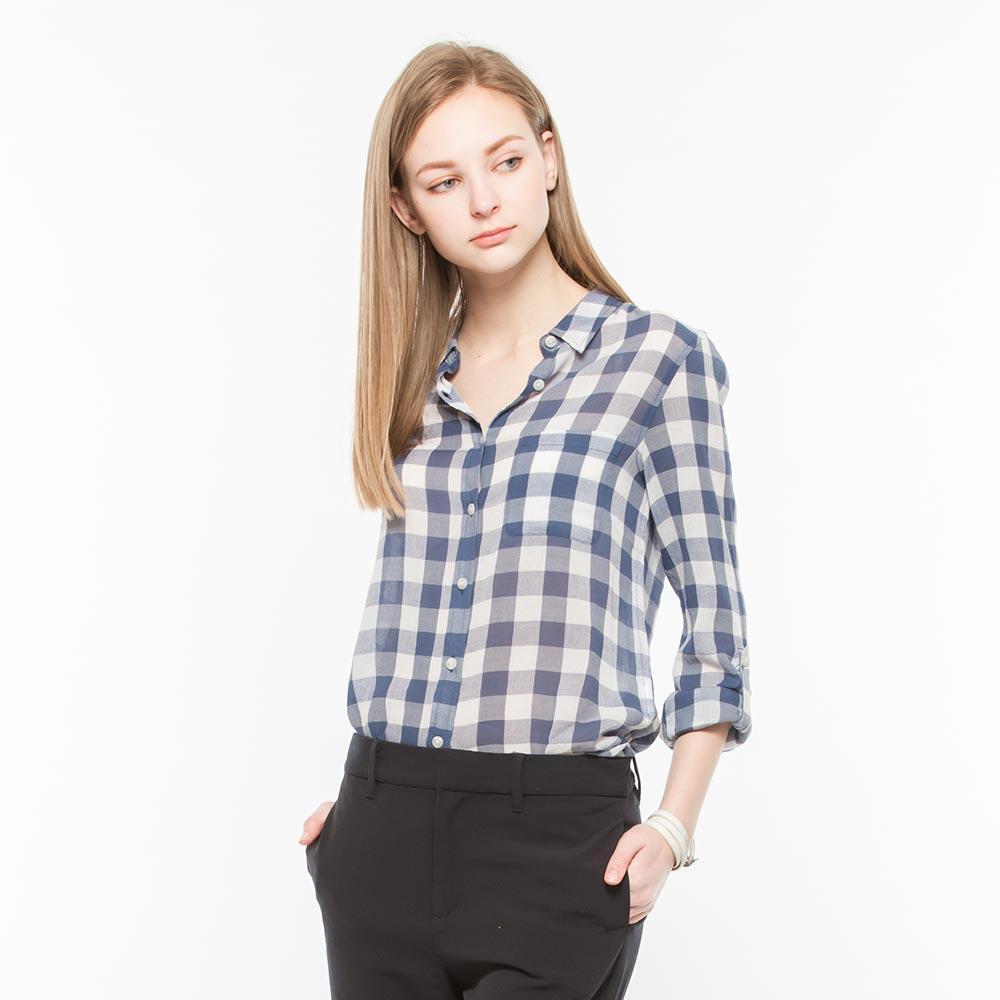 Hang Ten - 女裝 - 都會時尚格紋長袖襯衫-藍