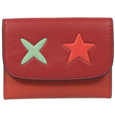 COACH 星星造型牛皮拼接多功能卡片夾(紅)COACH