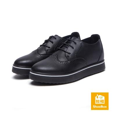 達芙妮DAPHNE-ShoeBox系列-平底鞋-白線飾邊綁帶平底牛津鞋-黑8H