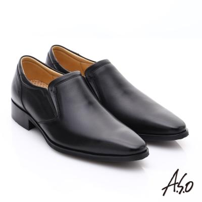 A.S.O 超輕雙核心 牛皮雙色直套式奈米紳士鞋 黑色