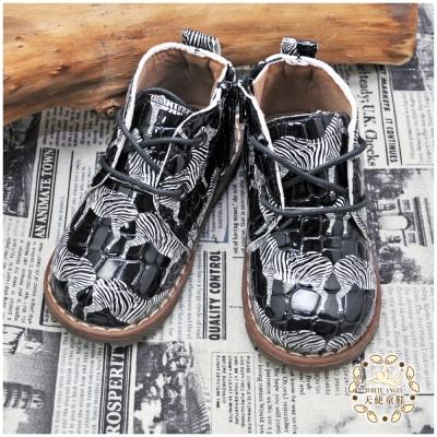 WhiteAngel天使童鞋-H8002 斑馬圖紋經典短靴