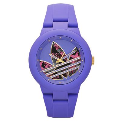 adidas 翻轉世界三葉休閒腕錶-塗鴉x紫/42mm