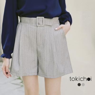 東京著衣 假腰帶包布西裝短褲-S.M(共二色)