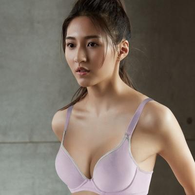 推Audrey-就是愛運動 棉籽絨款C-E罩內衣(粉嫩紫)