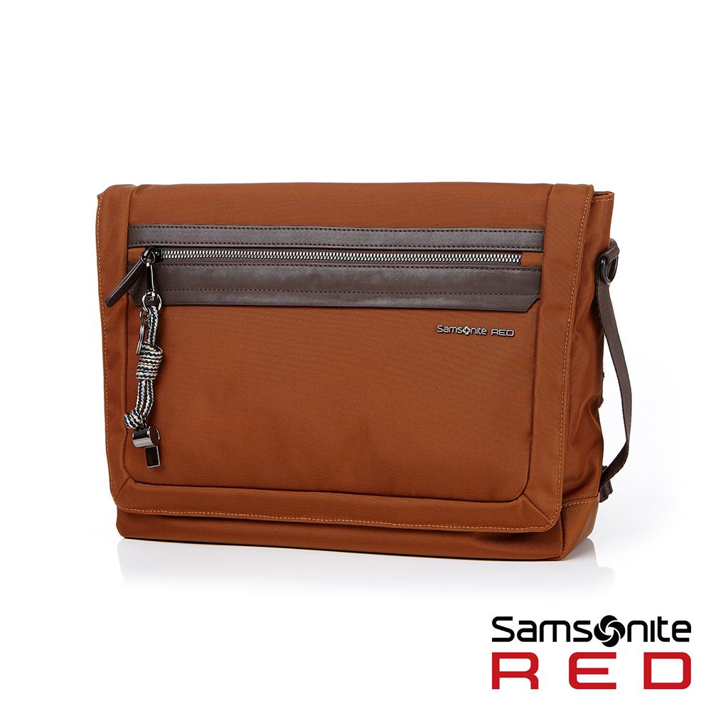 【5/1~5/25 10:00 限定 買就送500超贈點】Samsonite RED GLENDALEE網眼舒適附腰帶郵差包橘紅色