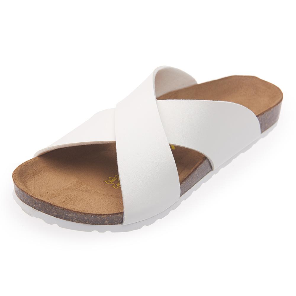 Joy Walker 簡約交叉寬帶拖鞋*白色