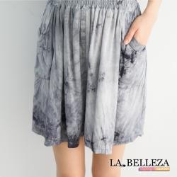 La Belleza手染布棉麻鬆緊五分褲裙