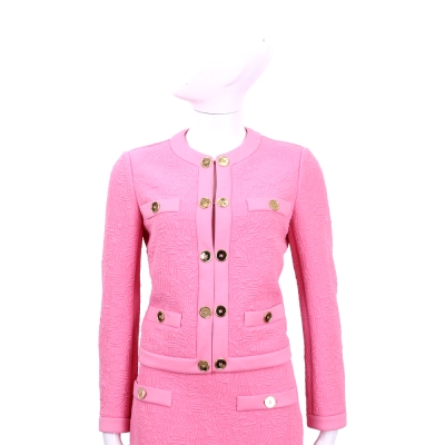 MOSCHINO 亮桃色金釦車線設計外套