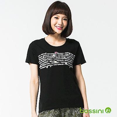 bossini女裝-印花短袖T恤28黑