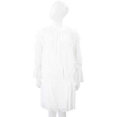 ERMANNO SCERVINO 白色皺褶袖設計蕾絲洋裝