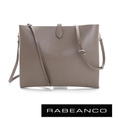 RABEANCO-迷時尚牛皮系列多夾層鏈帶手拿包-大-咖