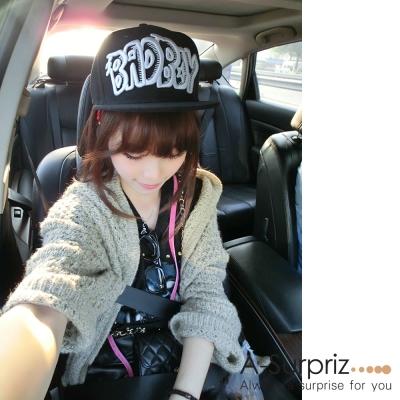 A-Surpriz 韓風潮流字母嘻哈棒球帽(酷性黑)