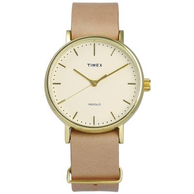 TIMEX 天美時 INDIGLO 美國指標簡約高品味真皮手錶-淺黃x駝/36mm
