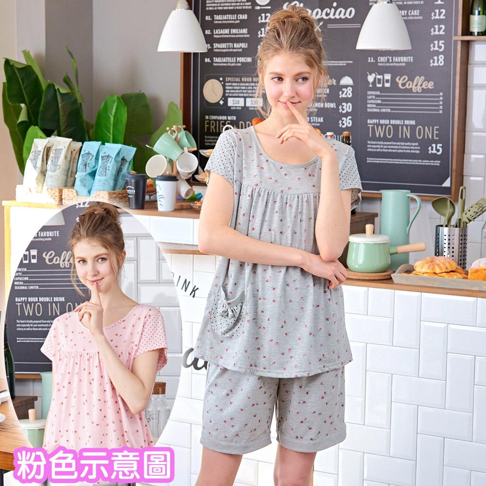 睡衣 碎花粉點點短袖兩件式睡衣(R77026-2粉點點)台灣製造 蕾妮塔塔