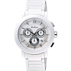 Diadem 黛亞登 都會三眼計時白陶瓷腕錶-珍珠貝/41mm