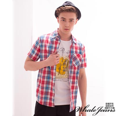 WHALE-JEANS-男款淺色格子短袖襯衫