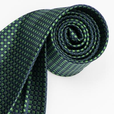 極品西服 經典品味絲100%格紋領帶_ 藍底綠(YT5018)