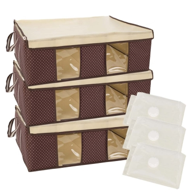 FL生活+跨世代3D壓縮袋棉被衣物防塵防潮收納箱6件組