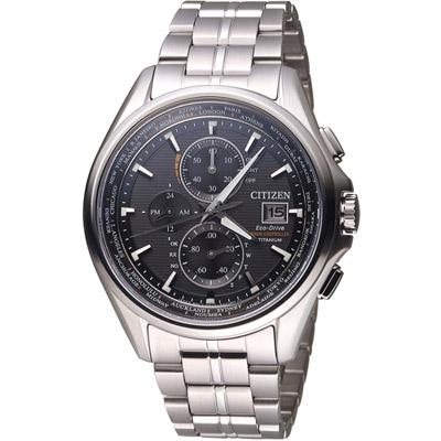 CITIZEN 星辰 光動能全球電波時計腕錶(AT8130-56E)-黑/44mm