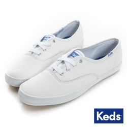 Keds 品牌經典皮質綁帶休閒鞋-白
