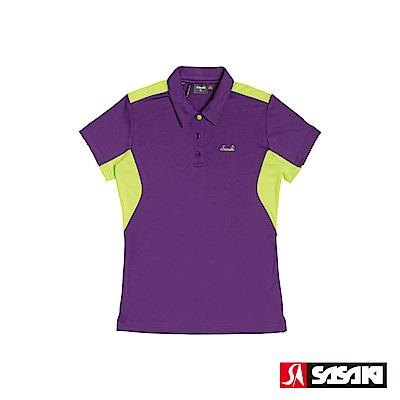 SASAKI 長效性吸濕排汗功能網球短衫-女-深葡萄紫/艷綠