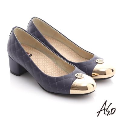 A.S.O 經典時刻 牛皮菱形車格經典奢華粗跟鞋 紫