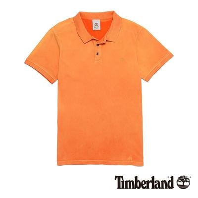 Timberland-男款焦橙色素面刺繡短袖Polo衫
