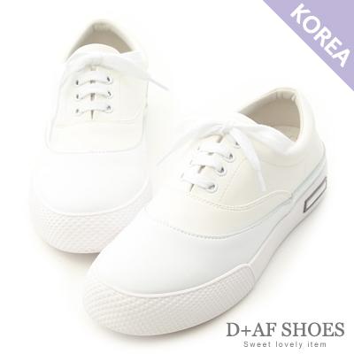D+AF 活力宣言.真皮拼接撞色綁帶休閒鞋*白
