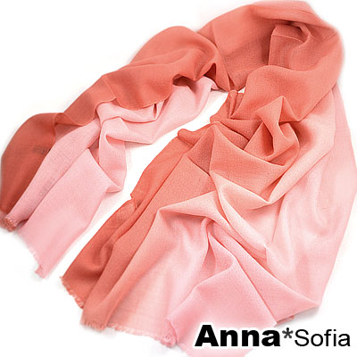 AnnaSofia 漸層紛色 薄款純羊毛長圍巾(磚紅粉)