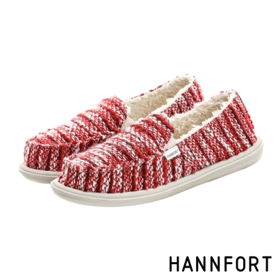 HANNFORT COZY針織毛絨氣墊休閒鞋-女-溫馨紅