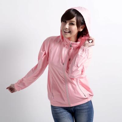 【遊遍天下】MIT台灣製抗UV防風機能連帽外套A020粉紅