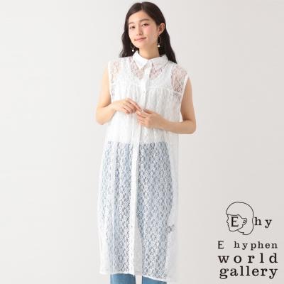 E hyphen world gallery 花卉蕾絲透膚襯衫領洋裝罩衫