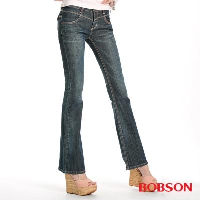 BOBSON 女款雪俏花朵鑽飾小喇叭褲(藍53)