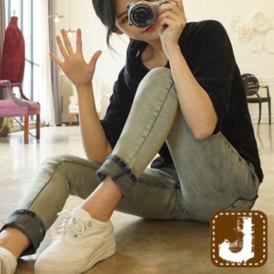 正韓 經典復古仿舊磨損窄管褲-(淺藍色)100%Korea Jeans