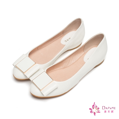 達芙妮DAPHNE 鄰家女孩方扣蝴蝶結圓頭娃娃鞋-氣質白
