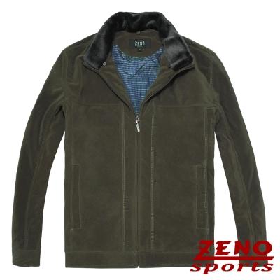 ZENO 保暖外套設計款紡絨條紋‧綠色