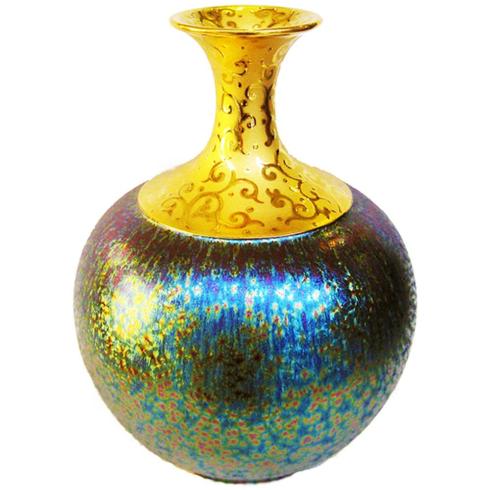 (大美人瓶)繽紛人生聚寶盆禮品~郭明本錳七彩結晶釉鎏金瓶