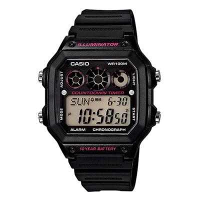 CASIO 10年電力亮眼設計方形數位錶(AE-1300WH-1A2)黑框x桃紅錶圈/42