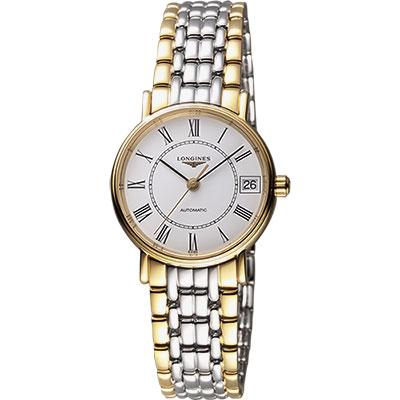 LONGINES Presence 羅馬優雅機械女錶-白x雙色版/30mm