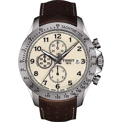 TISSOT天梭 V8系列三眼計時機械錶-米x咖啡色錶帶/45mm