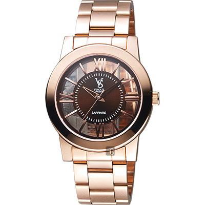 VOGUE 曼波系列鏤空藝術腕錶-咖啡x玫塊金/38mm