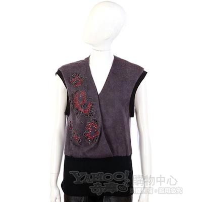 Lie Sang Bong 黑/紫色拼接造型珠飾背心