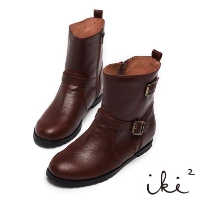 iki2經典百搭-素面內增高舒適短靴-淺咖啡