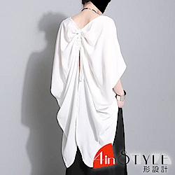 兩穿式後背抽繩蝴蝶蝙蝠袖上衣 (共二色)-4inSTYLE形設計