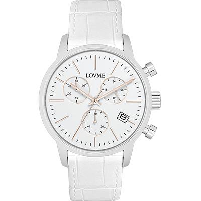 LOVME 城市獵人個性時尚手錶-白/43mm