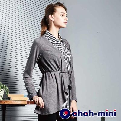 ohoh-mini 孕婦裝 文青風格假兩件襯衫孕哺上衣-2色