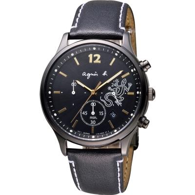 agnes b. 巴黎城市戀人三眼計時腕錶(BU8014P1)-黑x金時標/39mm