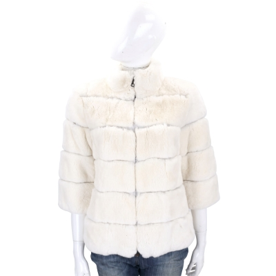 Manzoni 24 米白色立領兔毛皮草外套